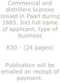 Commercial and distrillers licences issued in Paarl during 1885. Incl full name of applicant, type of business 